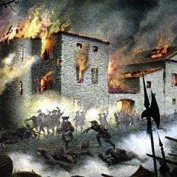Le brûlement des Cévennes, plaque de verre peinte de Samuel Bastide