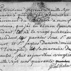 Acte de baptême de Rabaut Saint Étienne, célébré au Désert par son père, le pasteur Rabaut (1744)