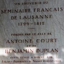 Plaque commémorative du séminaire de Lausanne (1769-1812)