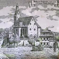ischwiller (67) temple avec simultaneum gravure en 1727