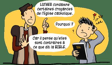 Luther condamne certaines croyances de l'Eglise catholique
