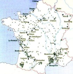 Centres importants des protestants en France au XVII<sup>e</sup> siècle