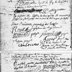 Signature des premiers pasteurs du Désert : Court, Roger, Cortheiz, Roix, etc.