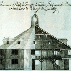 Demi-coupe du temple du Petit-Quevilly (Rouen, Seine-Maritime)