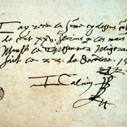 Autographe de Jean Calvin (22 décembre 1559)