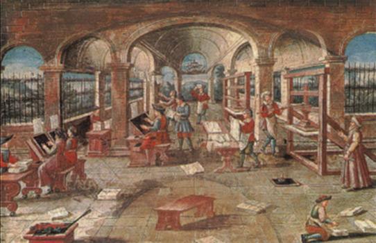 Atelier d'imprimerie au XVIe siècle