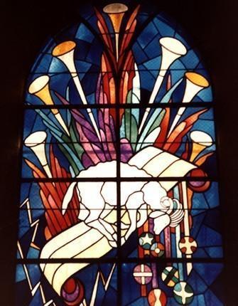 Jean-Pierre Brétegnier, l'agneau, vitrail d'Héricourt, XXe siècle