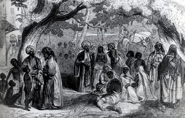Marché d'esclaves à Mascate en 1849