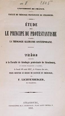 « Étude sur le principe du Protestantisme » par Lichtenberger