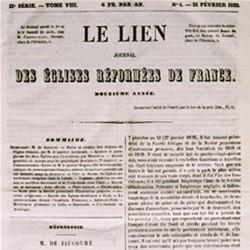 Le Lien, journal des Eglises réformées de France (courant libéral), créé en 1841