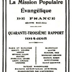 Rapport de la Mission Populaire Evangélique de France, Cahors et Alençon, 1915.