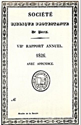 Société Biblique Protestante (couverture du Rapport annuel