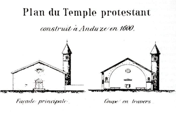 Plan du temple d'Anduze (Gard)