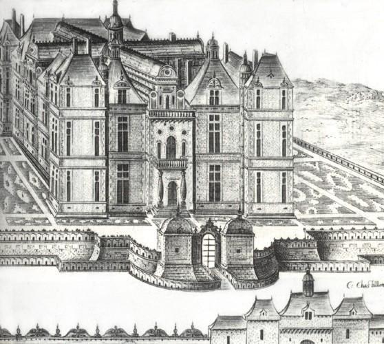 B. Androuët du Cerceau : château de Fresne (vue générale d'après C. Chastillon)