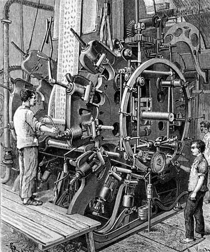 Machine à imprimer le tissu dans les ateliers Dollfus-Mieg
