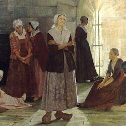 Prisonnières huguenotes à la Tour de Constance, tableau de Jeanne Lombard