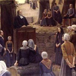 Le prêche au Désert, Tableau de Jeanne Lombard
