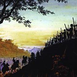 Scène de bataille, plaque de verre peinte de Samuel Bastide