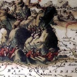 Cartouche de la carte des Cévennes «Le théâtre de la guerre dans les Cévennes avec les montagnes et les plaines des environs du Languedoc.» Nieuwe Caart van Sevennes. C. Danckerts Amsterdam 1703.