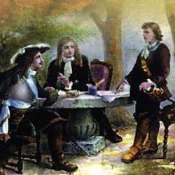 Entrevue entre Cavalier et Villars au jardin des Recollets, Samuel Bastide Dessin de Samuel Bastide d'après un tableau peint par Jules Salles.