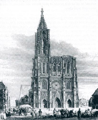 Cathédrale de Strasbourg en 1822 (dessin de Rouargue)