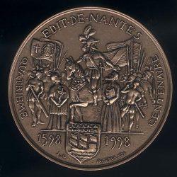 Médaille du 4ème centenaire de l'Édit de Nantes 1598-1998