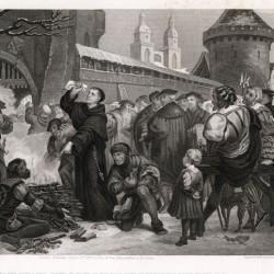 Luther brûlant la Bulle du Pape le 10 décembre 1520