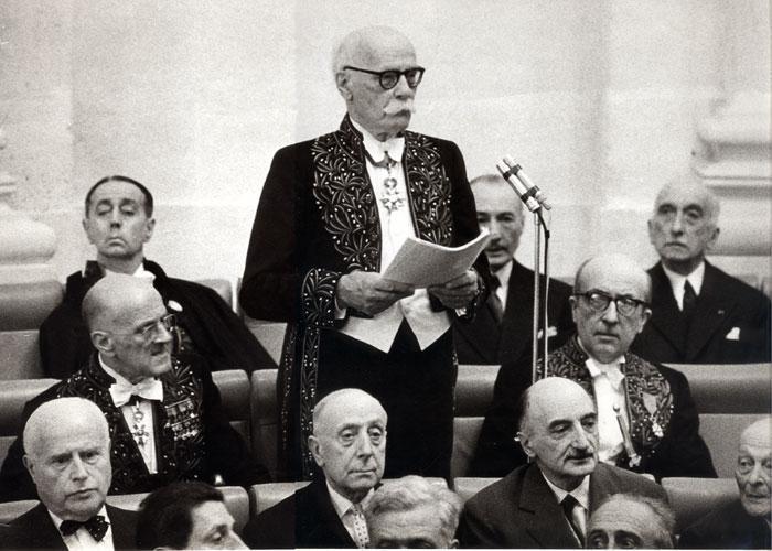Réception du pasteur Marc Boegner à l'Académie française en 1963
