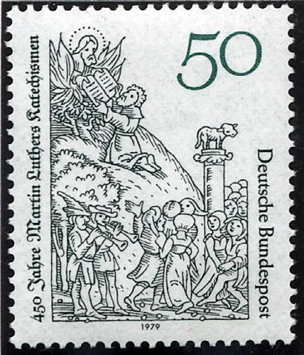 Timbre représentant la parution du Catéchisme de Luther en 1529