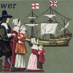 Timbre représentant l'embarquement des puritains sur le Mayflower en 1620