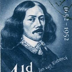 Timbre représentant Jan van Riebeeck, fondateur de la ville du Cap en 1652