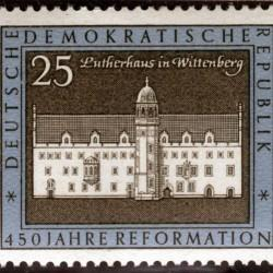 Postage stamp depicting Luther's house in Wittenberg