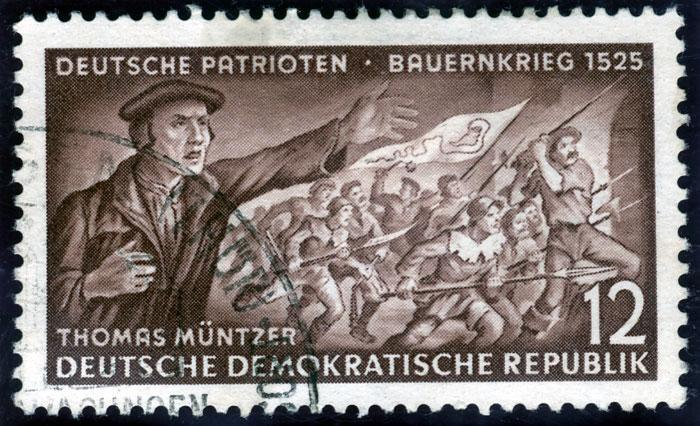Postage stamp depicting Müntzer and the Peasants' Revolt