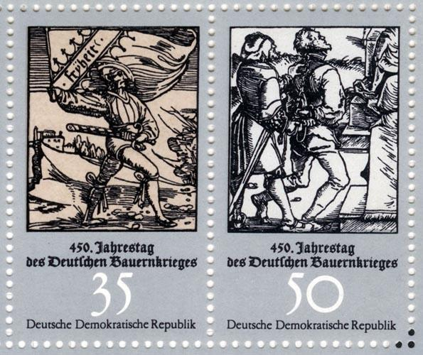 Timbre représentant Müntzer et la guerre des paysans