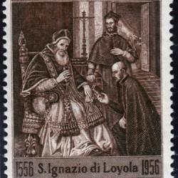 Timbre : Paul III approuvant la fondation de la Compagnie de Jésus