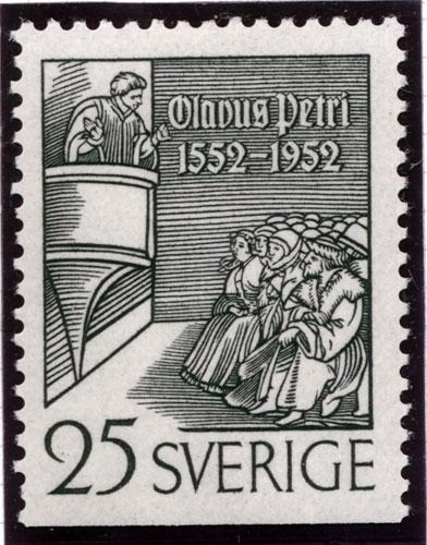 Timbre représentant Claus Petri (1493-1552), réformateur suédois