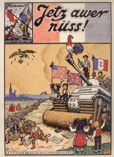 Libération de l'Alsace en 1945, gravure de Hansi