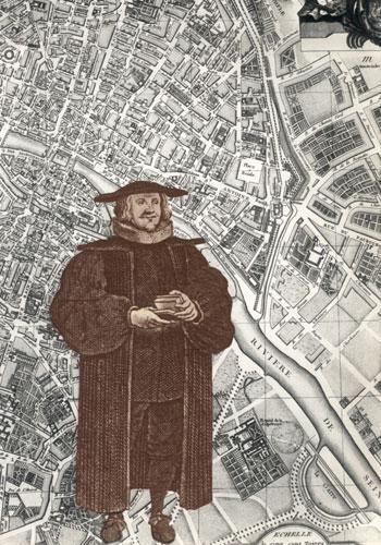 Pasteur luthérien sur fond de plan de Paris
