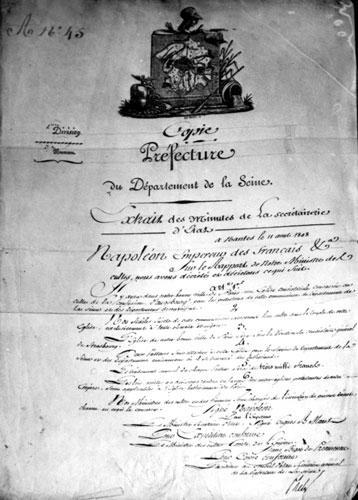 Création d'un église consistoriale luthérienne, décret du 11 août 1808