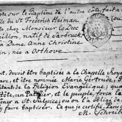 Baptême protestant à la chapelle de l'ambassade du Danemark, contrarié par les catholiques (1774)