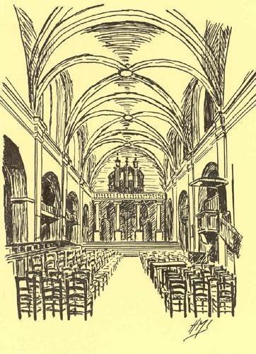 Temple des Carmes, Montauban (82), dessin d'Hélène Malvy Sylvestre