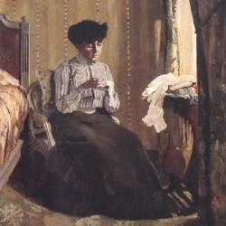 Félix Vallotton (1865-1925), Femme cousant dans un intérieur