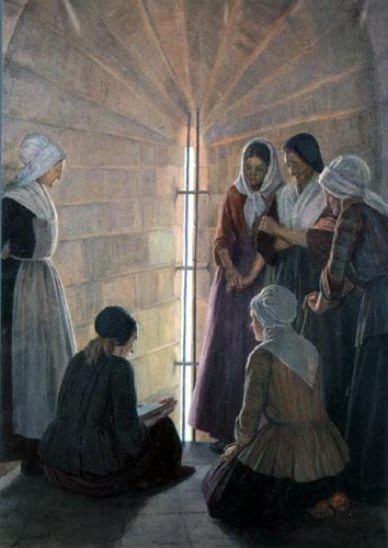 Prisonnières de la Tour de Constance lisant la Bible (par Jeanne Lombard)