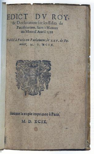 Édit de Nantes, publication de 1599