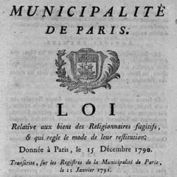 Défense relative aux biens, 15 décembre 1790