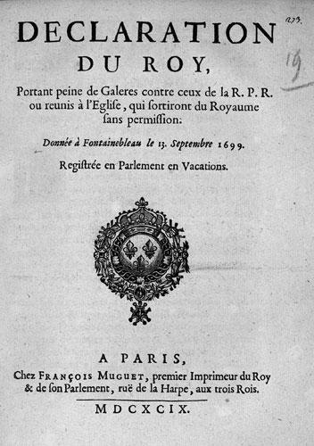 Défense de sortir du royaume sous peine de galères (13 septembre 1699)