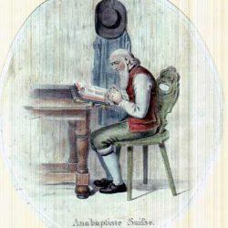 Gravure représentant un anabaptiste suisse, fin XVIII<sup>e</sup> siècle