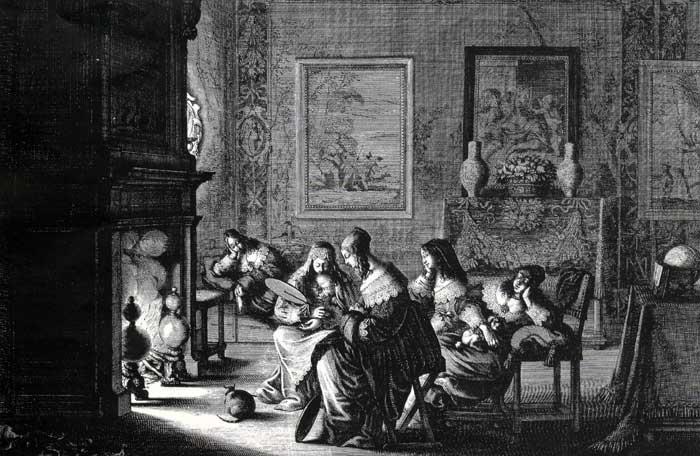 A. Bosse, Les vierges folles somnolent en attendant l'arrivée de l'époux