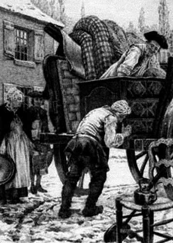 Rousseau déménage avec un attelage de l'Ermitage, illustration de Maurice