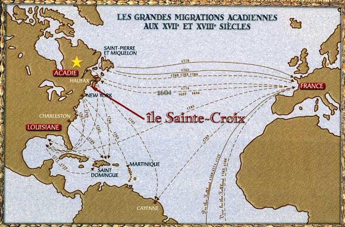 Carte des grandes migrations acadiennes aux XVIIe et XVIIIe siècles